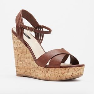 F21 Strappy Cork 5in Wedges